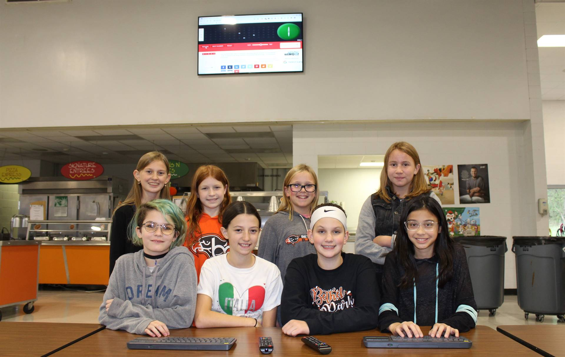 Some of the AV Students who will be helping with announcements on the new TVs