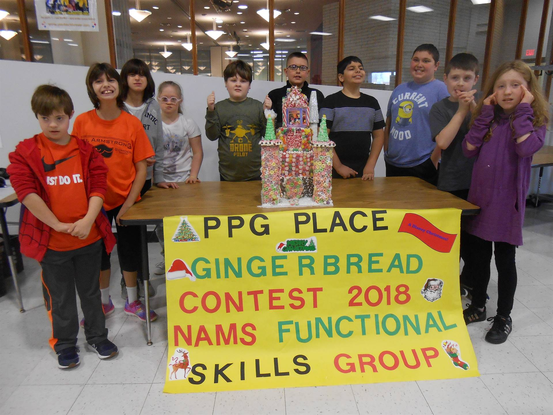 Students with their gingerbread house contest entry