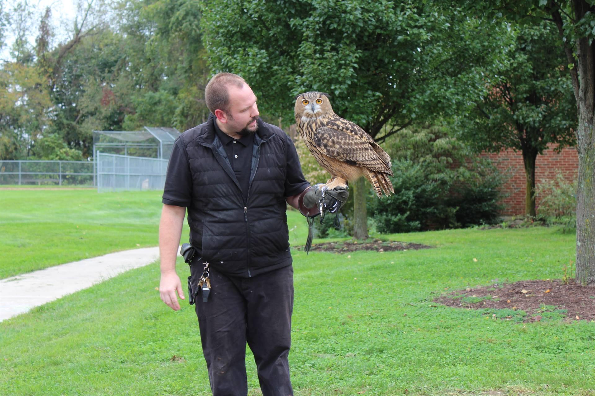Mr. Davis holding the owl