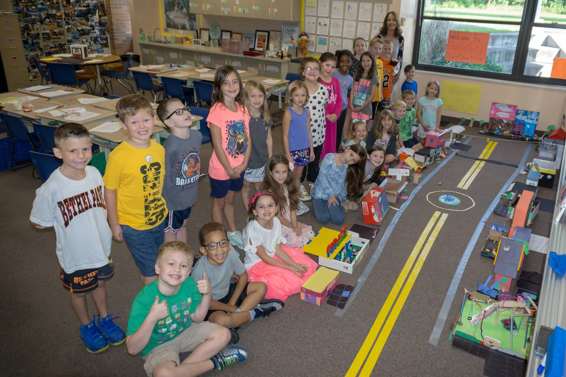 Second Graders Stand By The Franklin City They Created