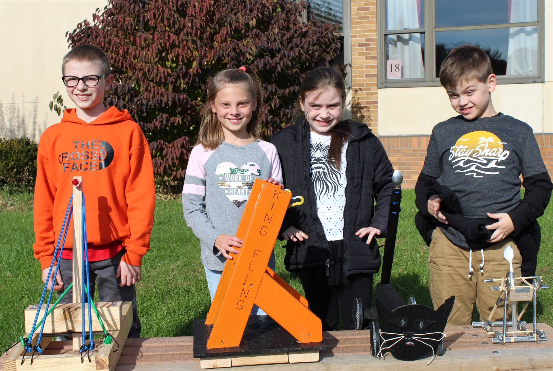 The four Pumpkin Chunkin' winning fourth grade students