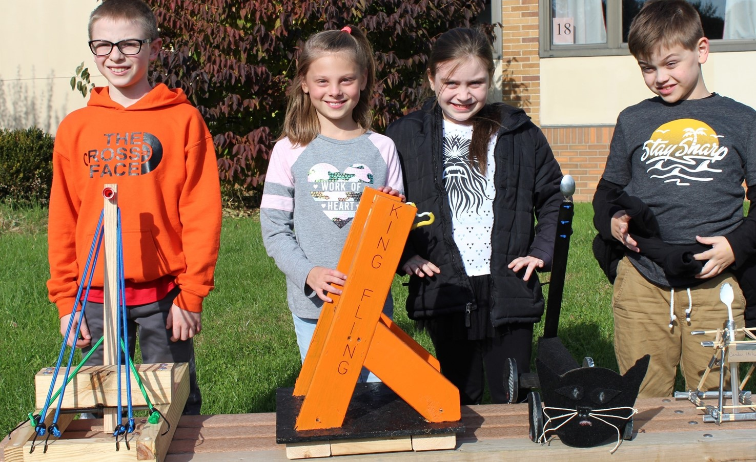 The four winning Franklin Pumpkin Chunkin' students