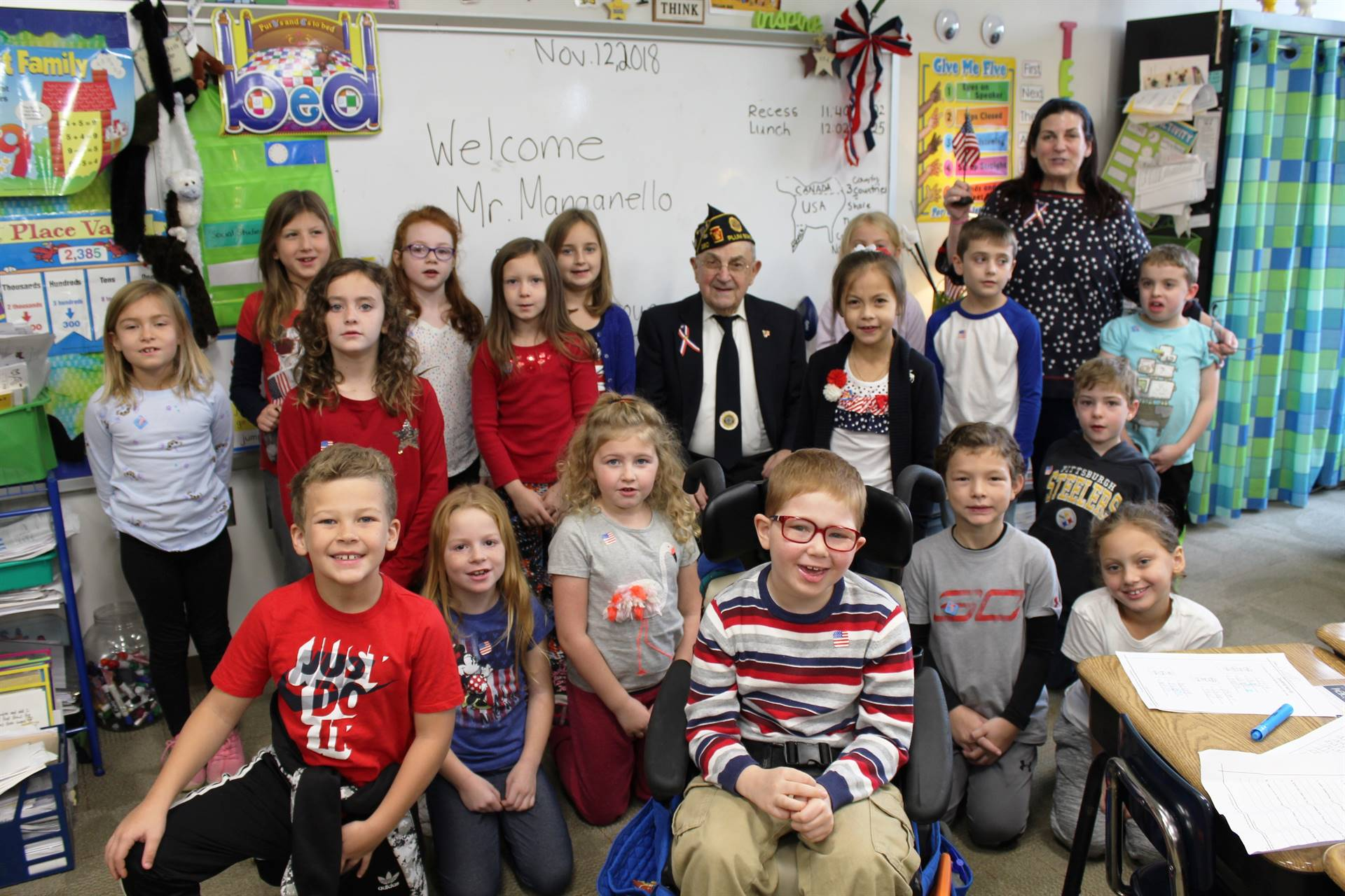 Second Graders with a Veteran on Veterans Day