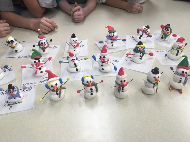 Snowmen on a table