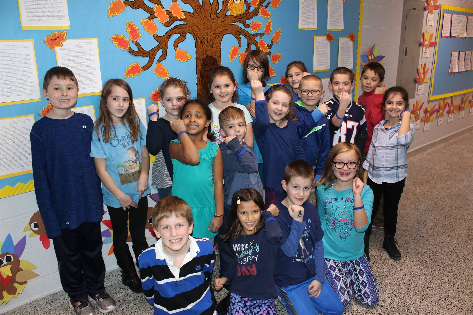 Mrs. Petalino's classroom dressed in blue on World Diabetes Day