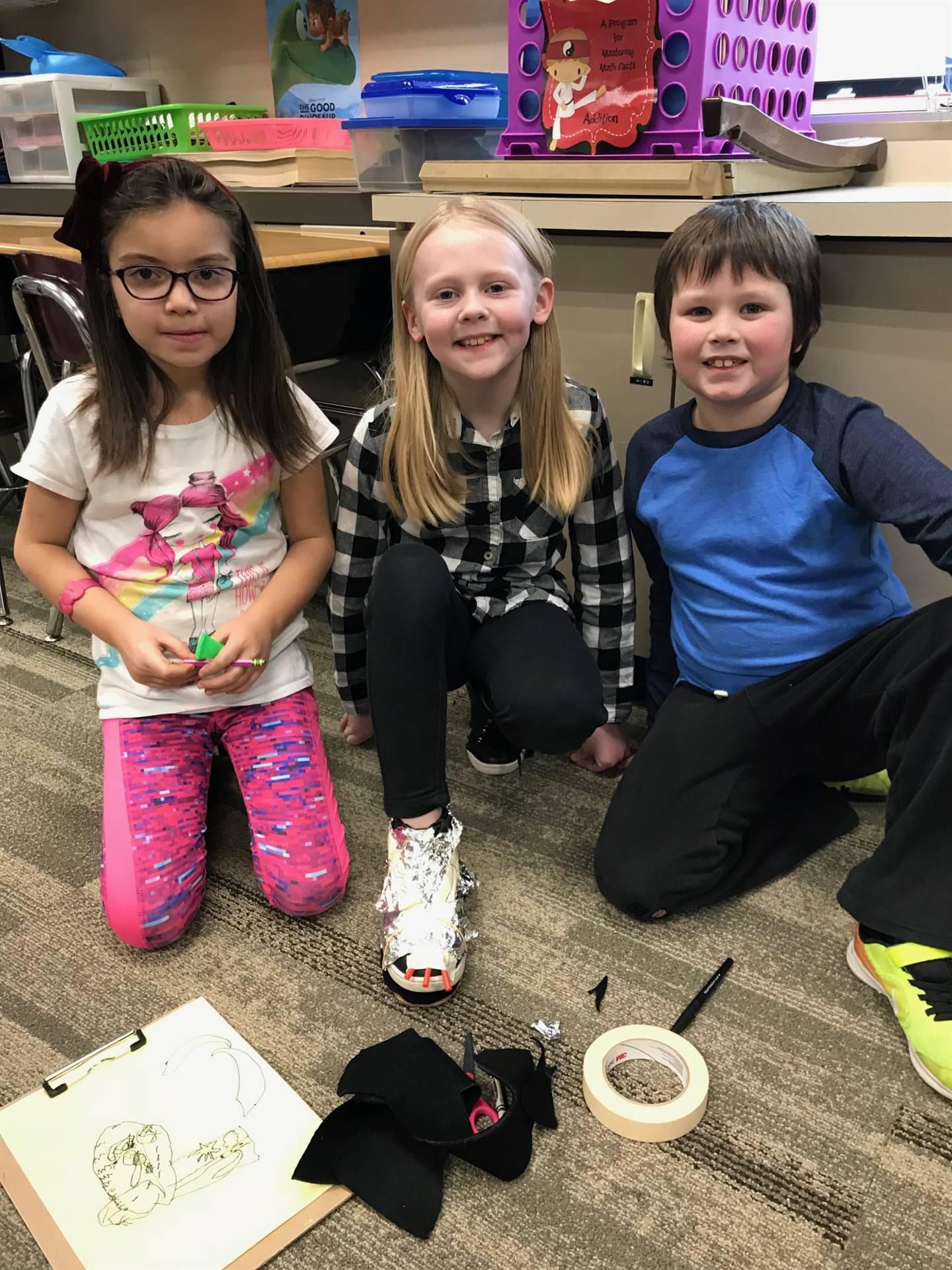 Students with their shoe