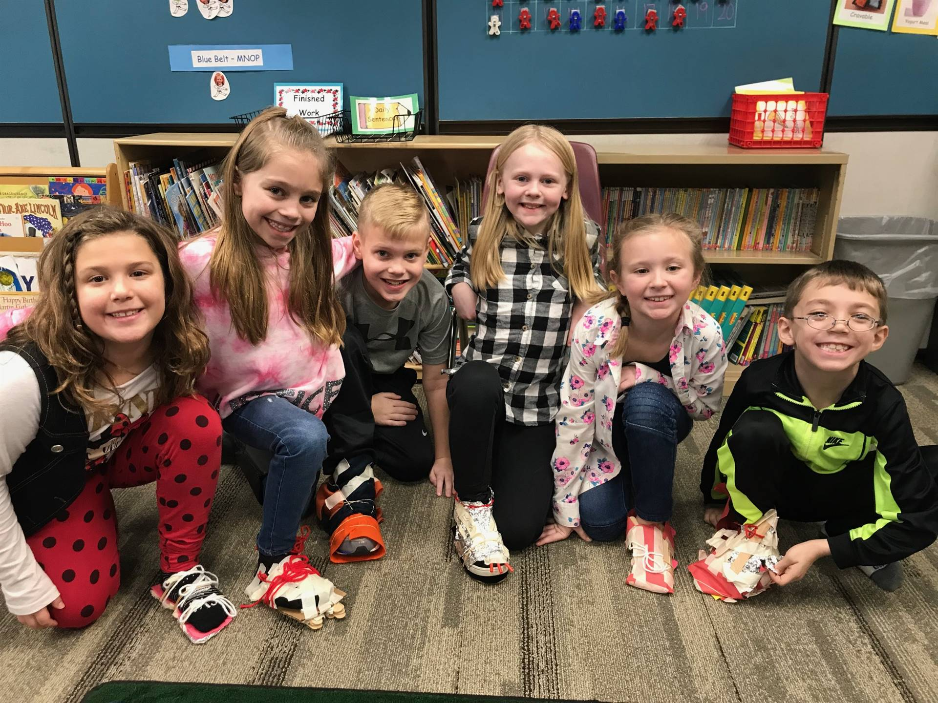 Second Graders with the shoes they created