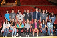 Judge Arnoni and Mr. Killmeyer and the Ninth Grade Homeroom Representatives