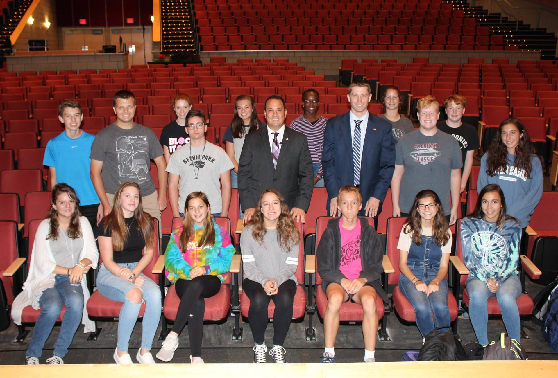 Judge Arnoni, Mr. Killmeyer and the Ninth Grade Homeroom Representatives after the LEAD Assembly