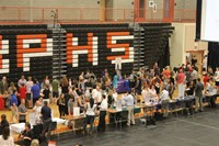 An aerial shot of people in the Main Gym
