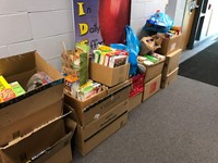 Some of the items collected for the SHIM Food Pantry