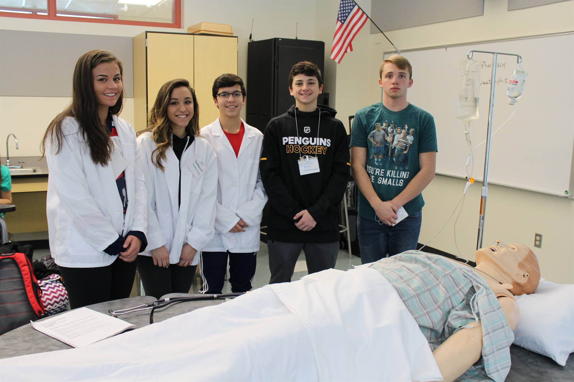 The BPHS students who volunteered for the Sim Man exercise