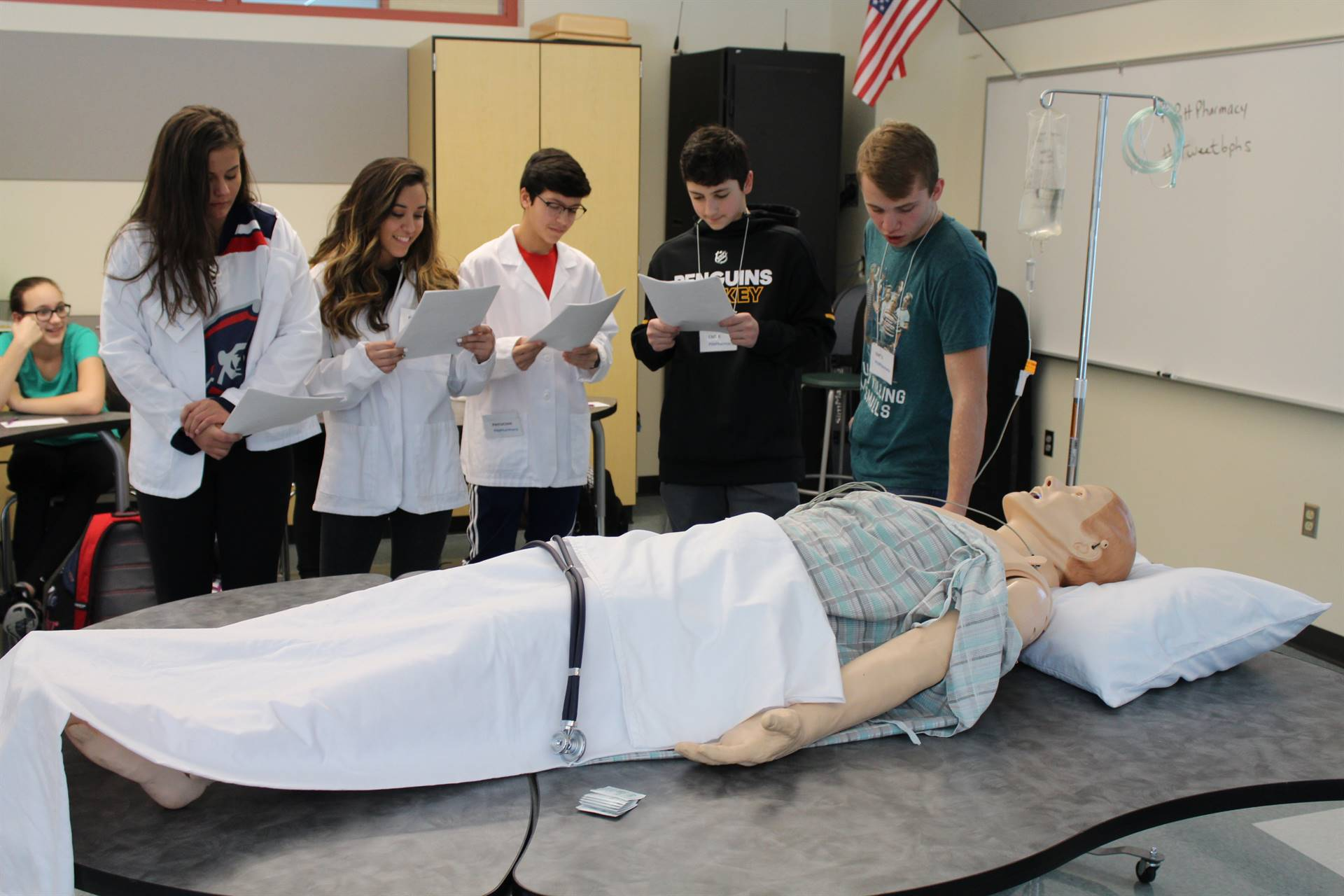 BPHS students participating in the Sim Man exercise