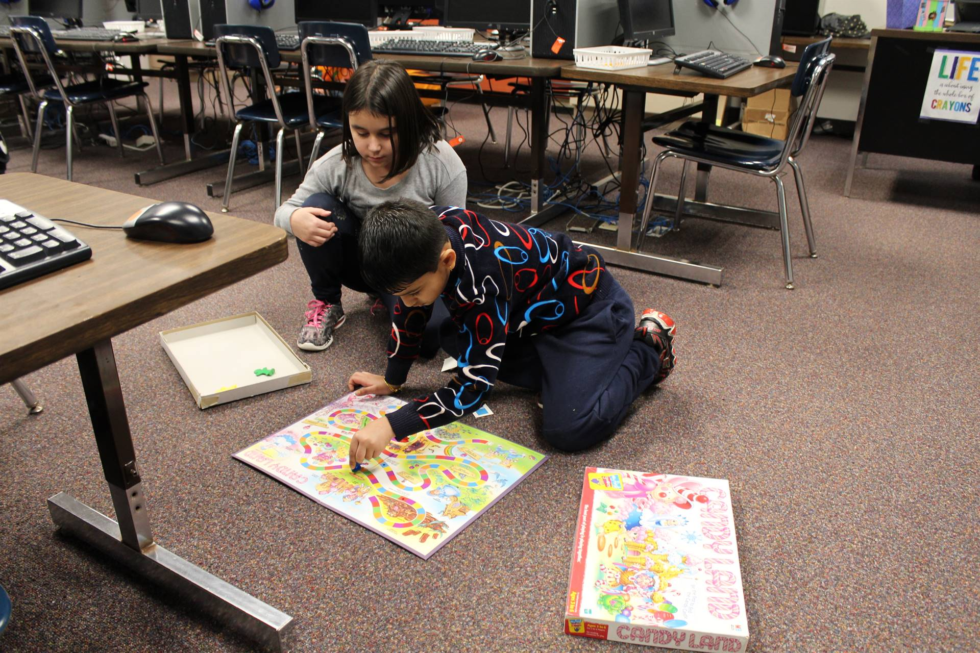 Students playing Candyland