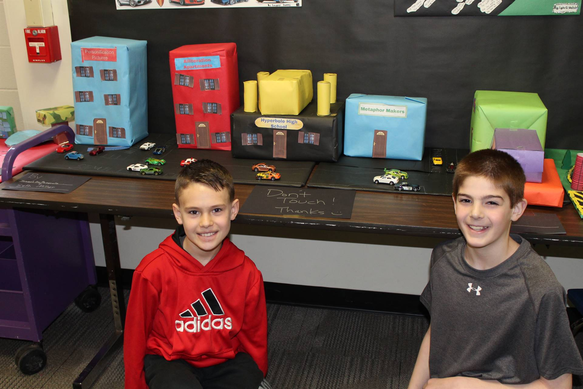 Students with their architecture project