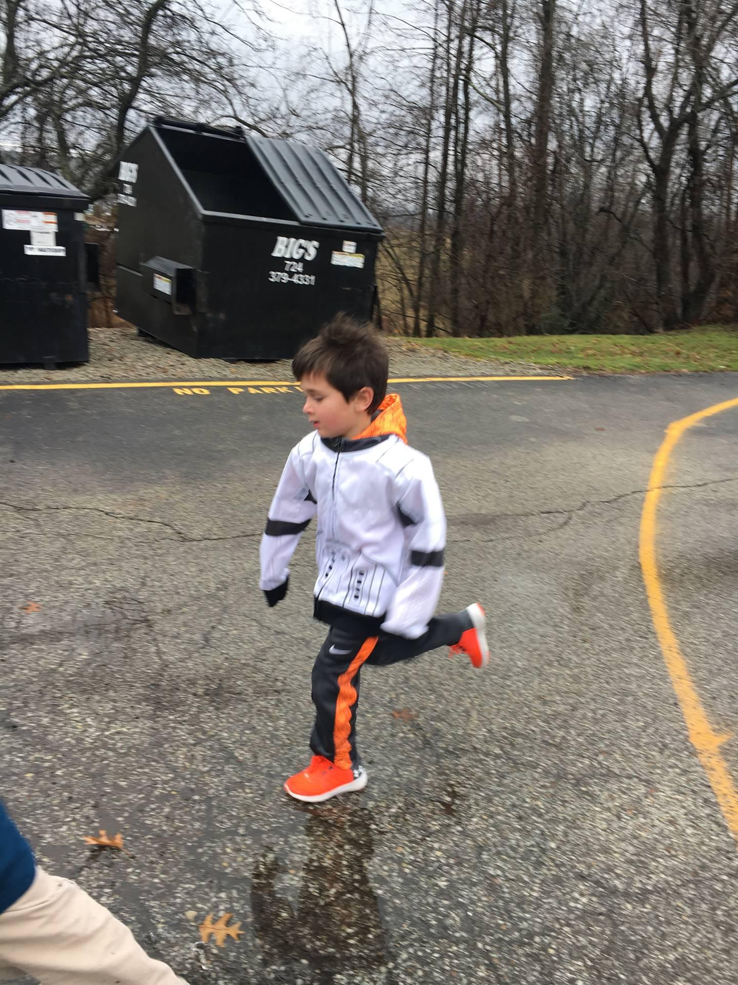 Student running outside