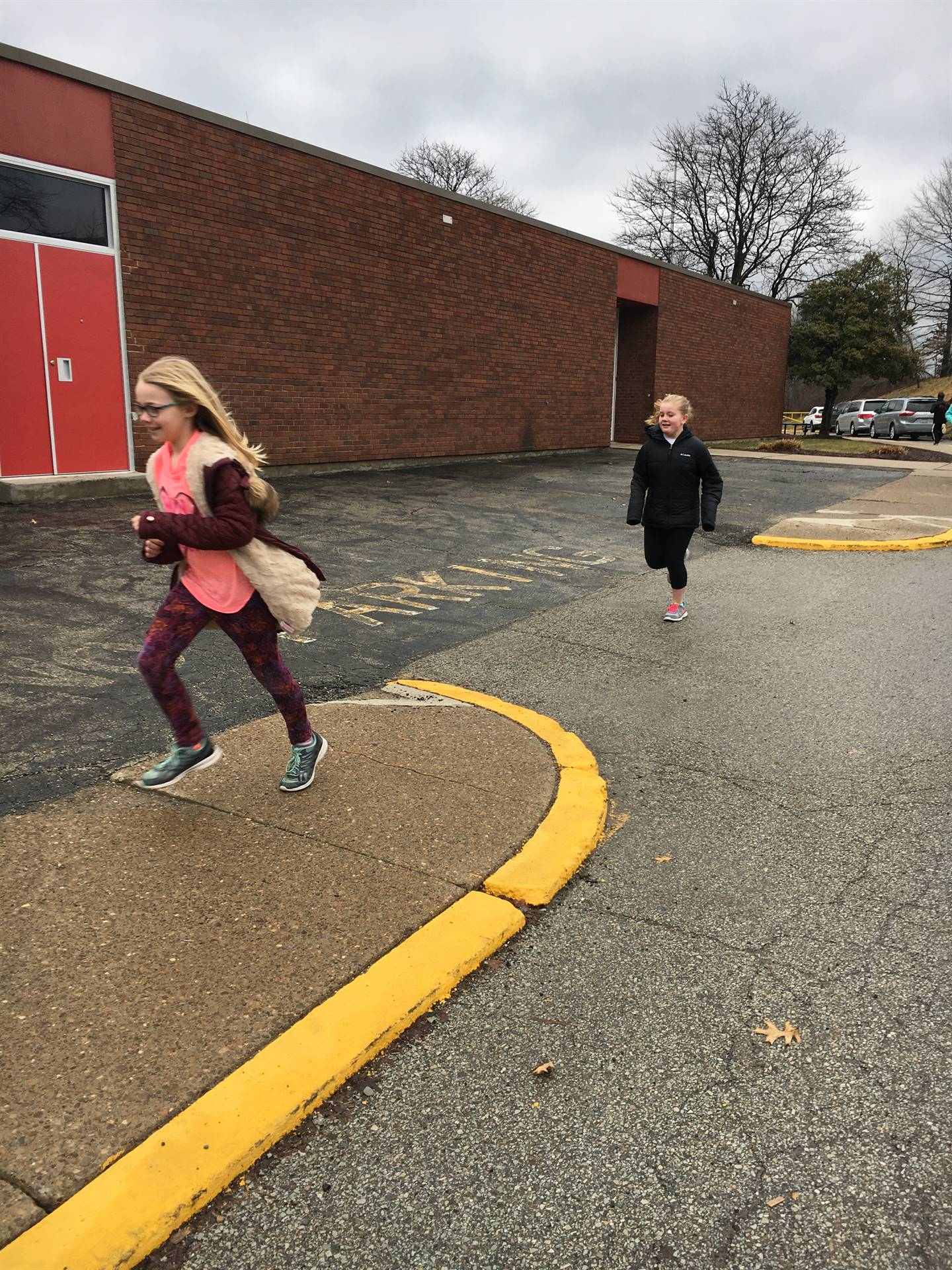 Students running outside