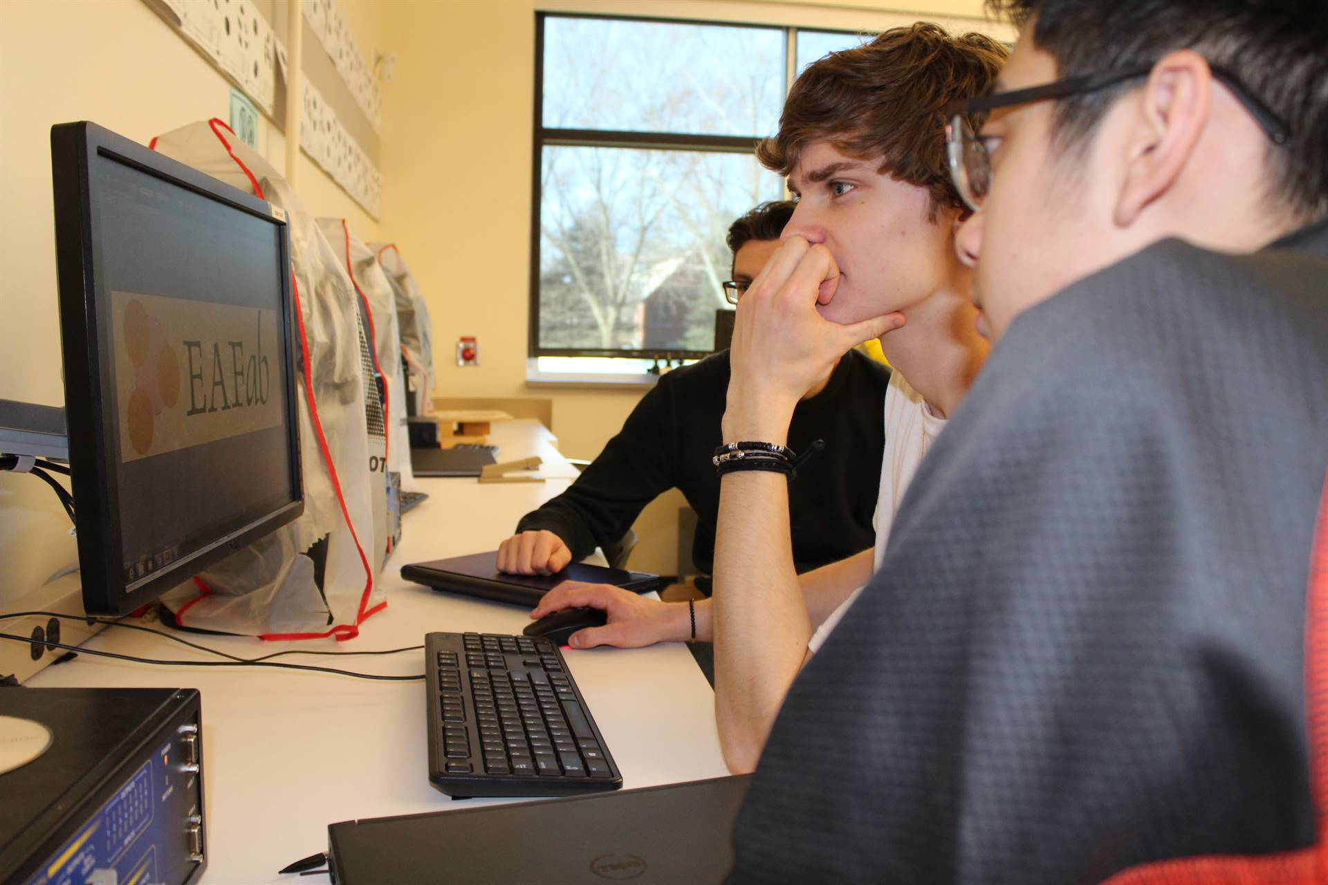 Students working on their presentation