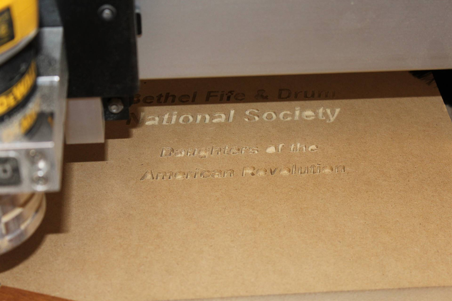 An example of a plaque in the CNC router