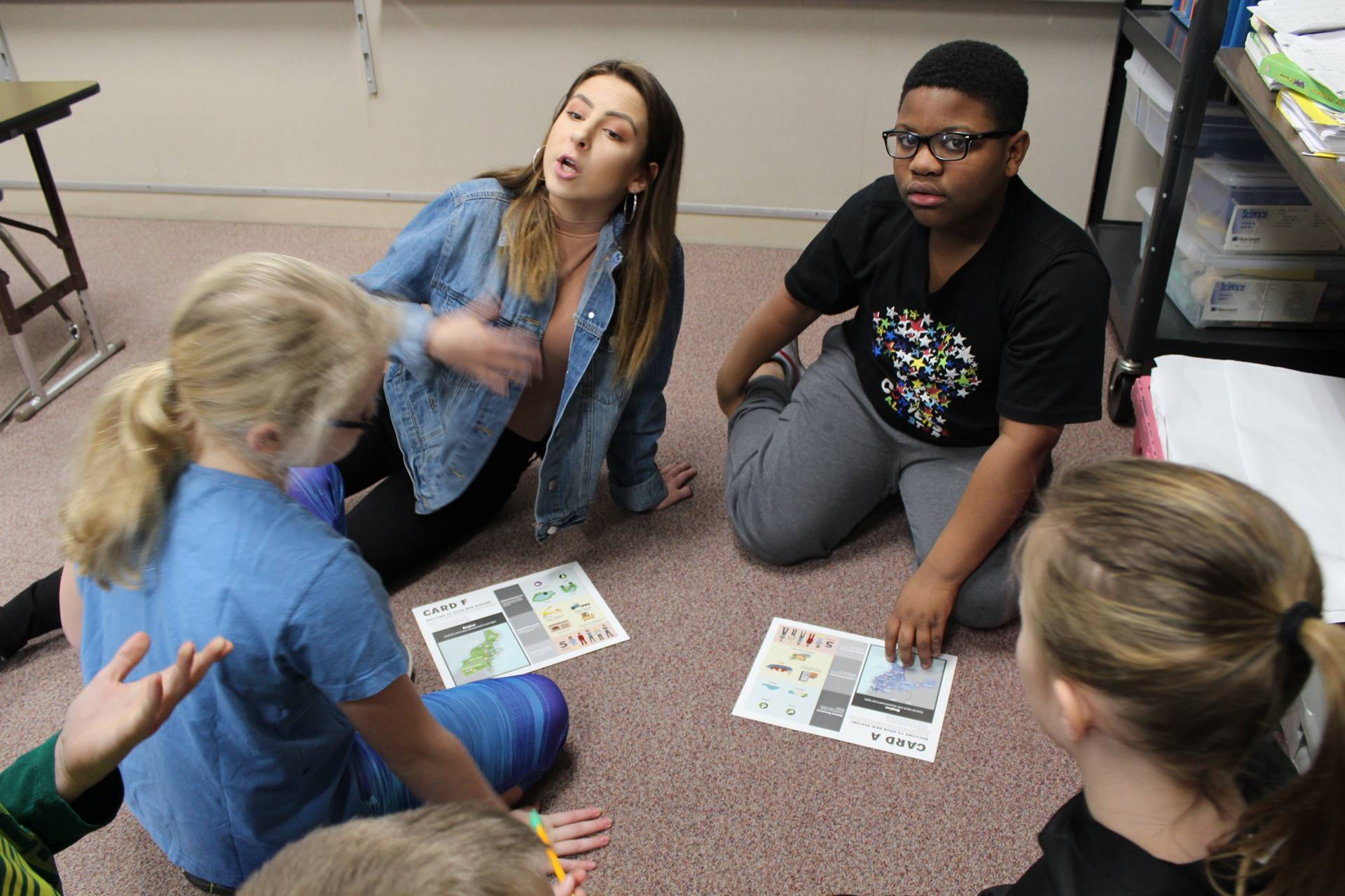 BPHS student working with Franklin students on an activity