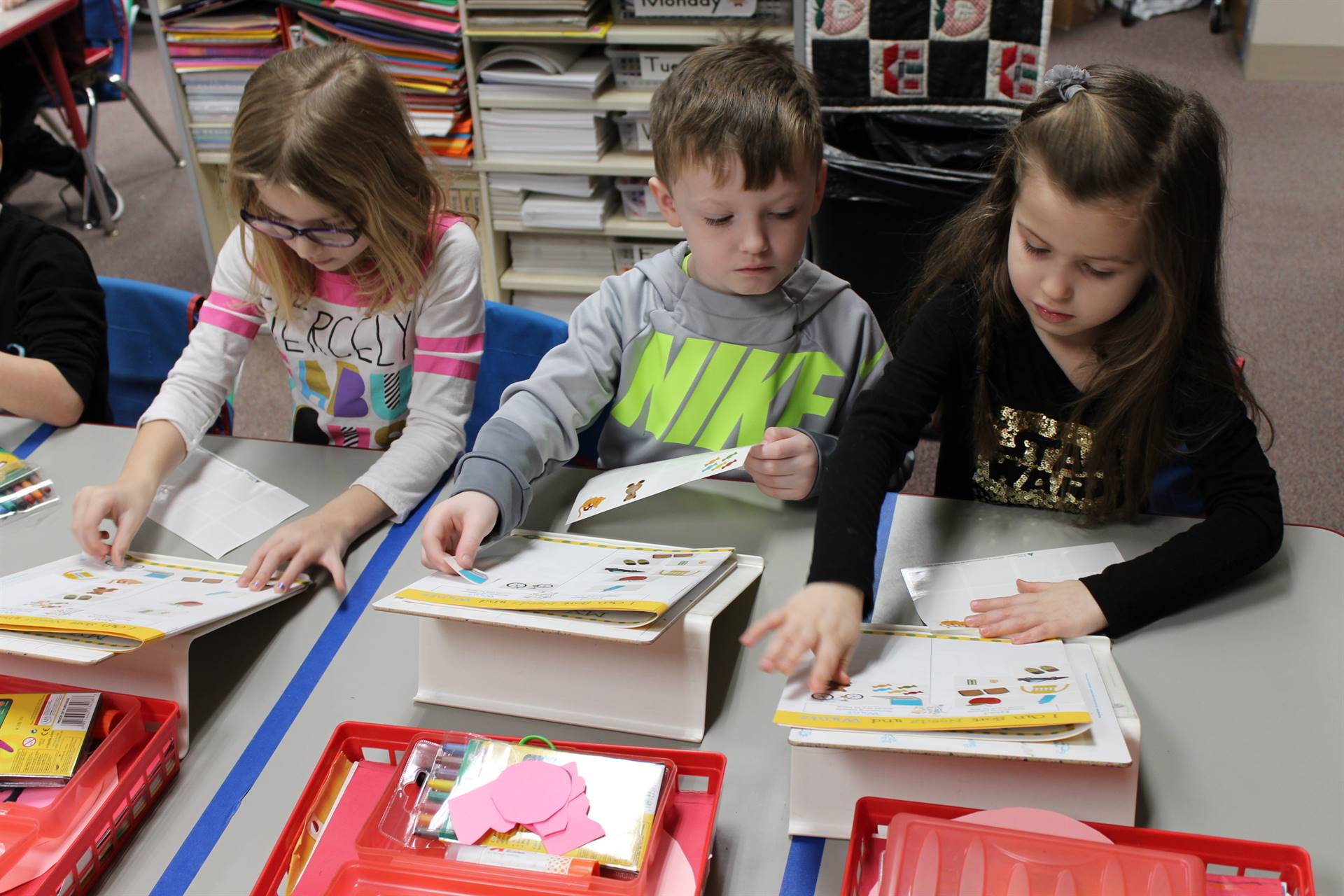 Franklin students working in their work books