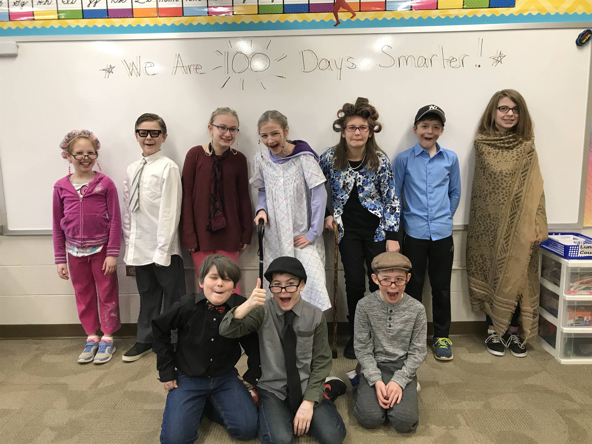 Students dressed as if they were 100 years old