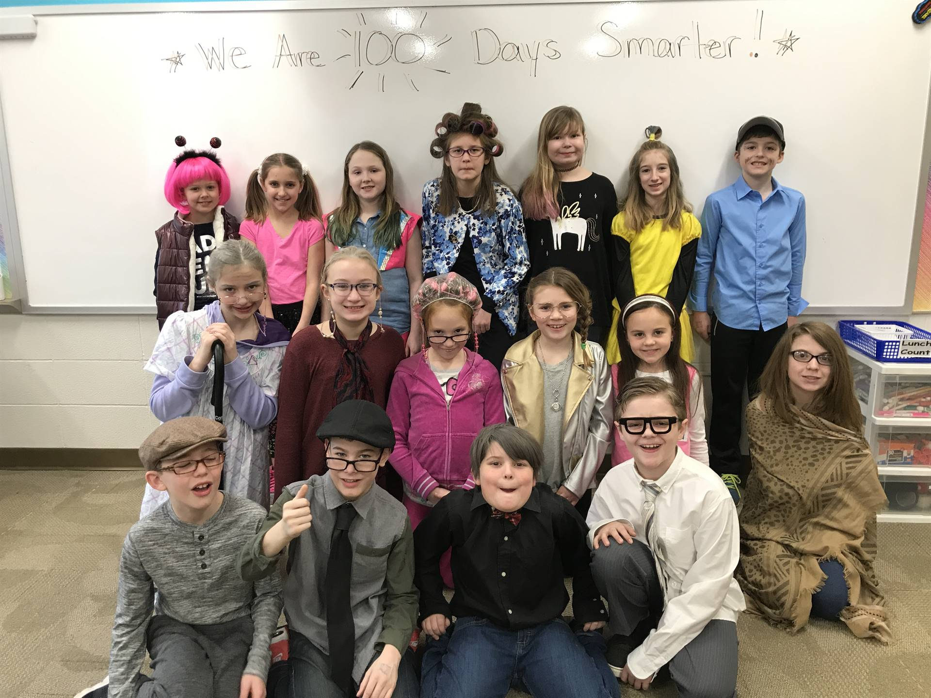 Mrs. Dressler's students dress up for the 100th Day of School