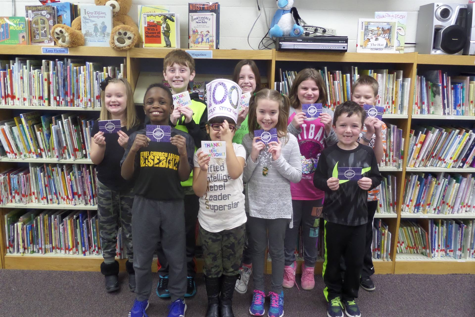 Prize winners on the 100th day of school