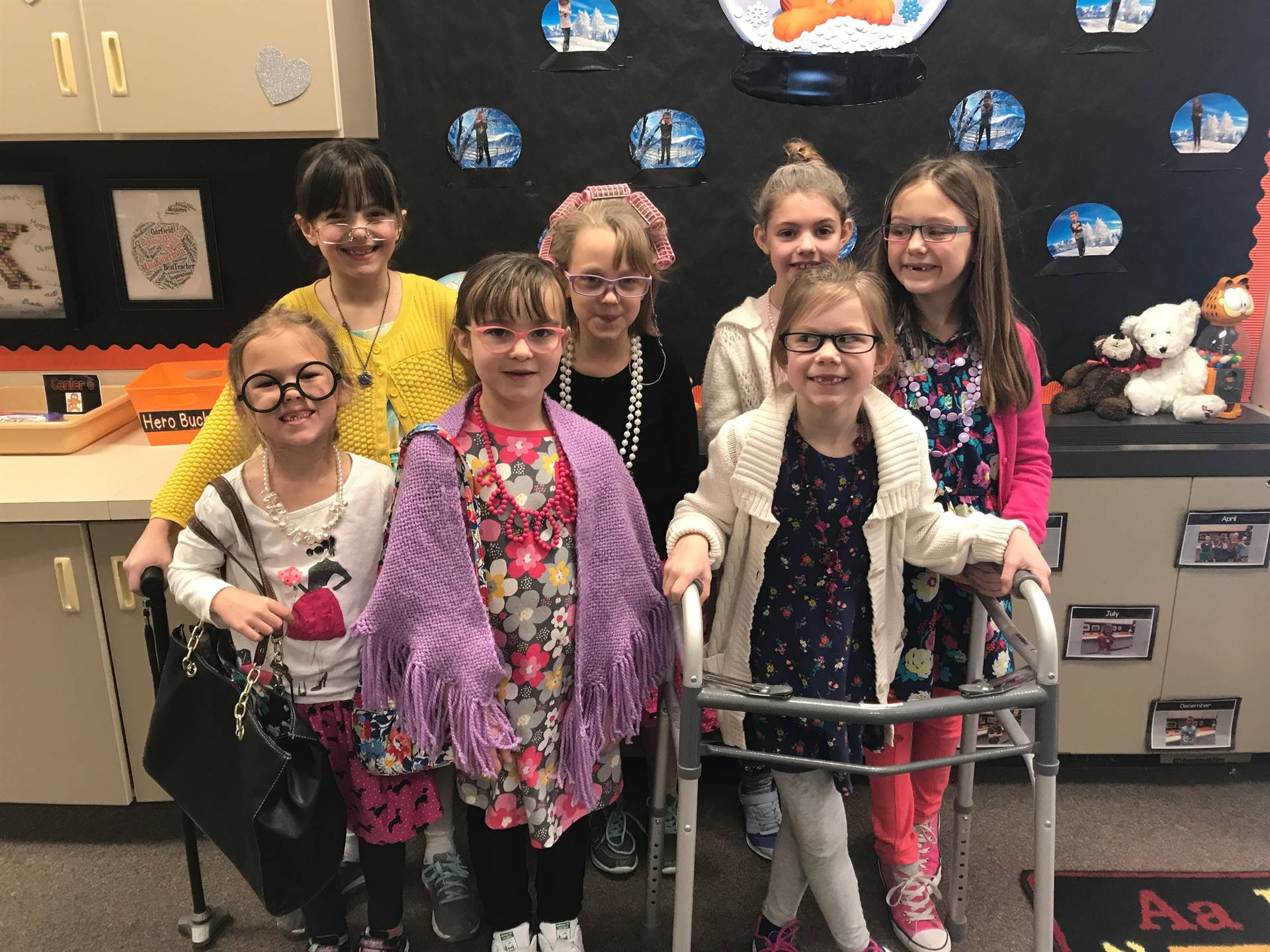 Second Graders Dressing like they are 100 years on on the 100th Day of School