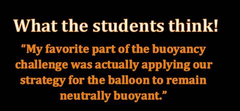 Student quote about buoyancy