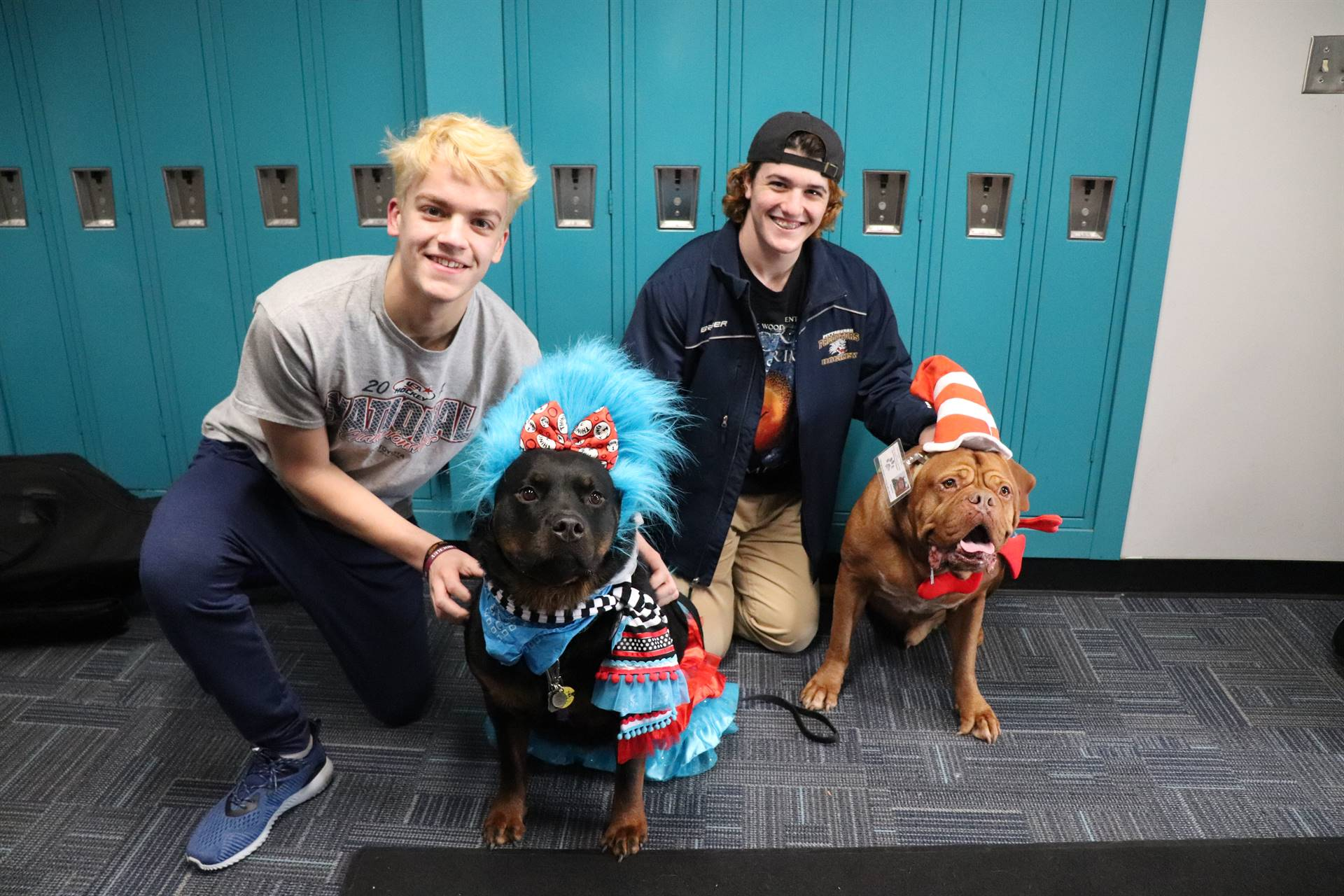 Guest readers with the rescue dogs