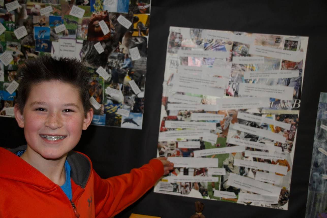 Student with his collage