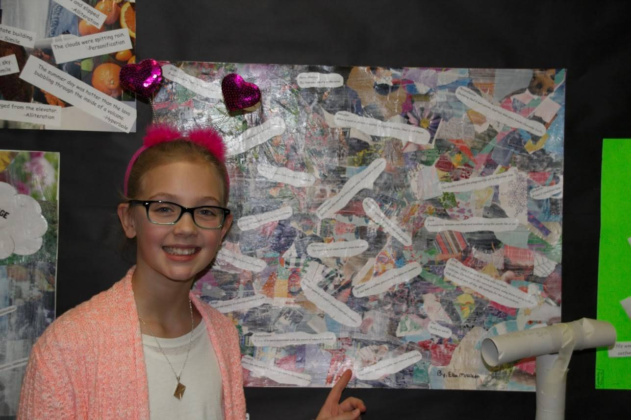Student with her collage