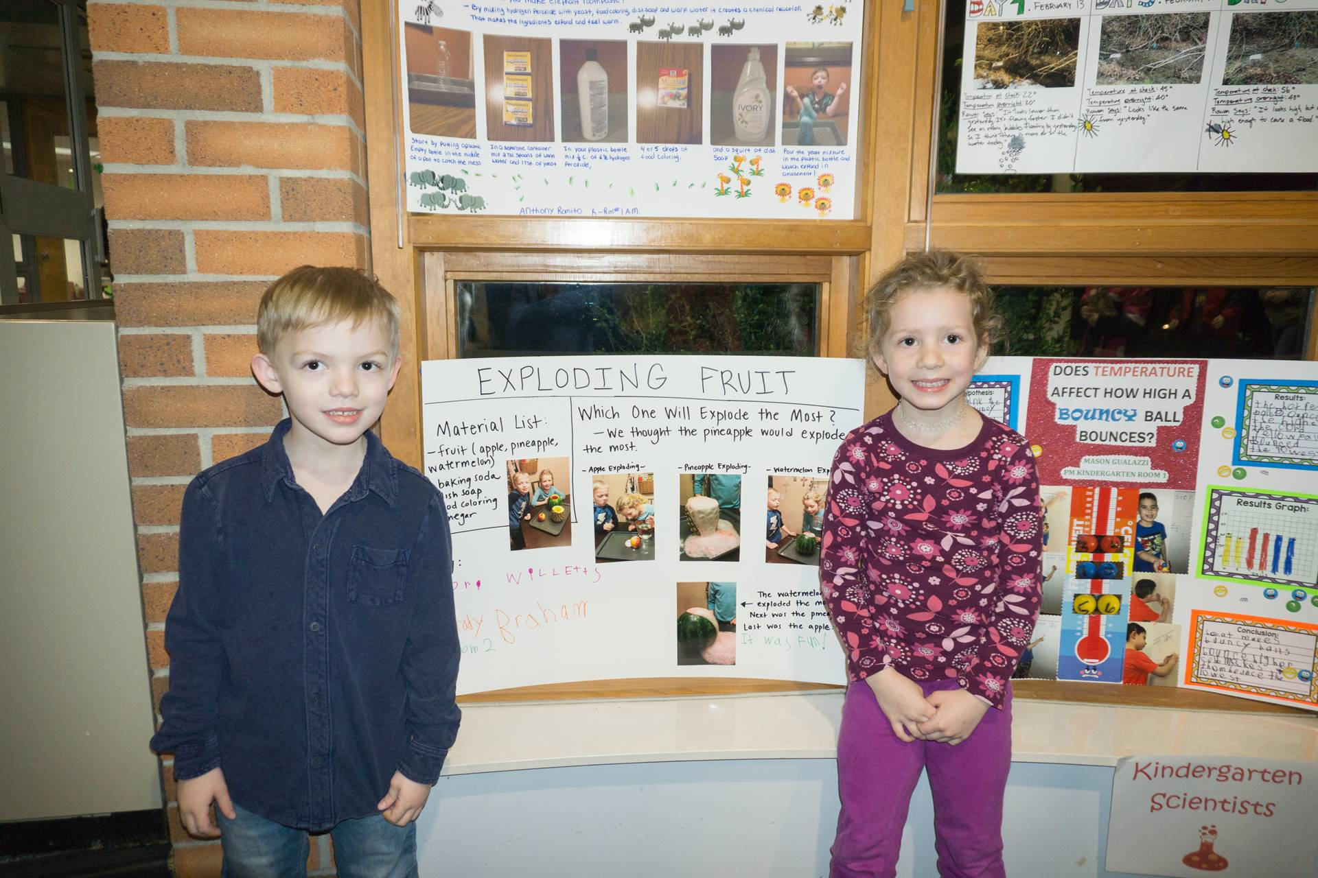 Students with their projects