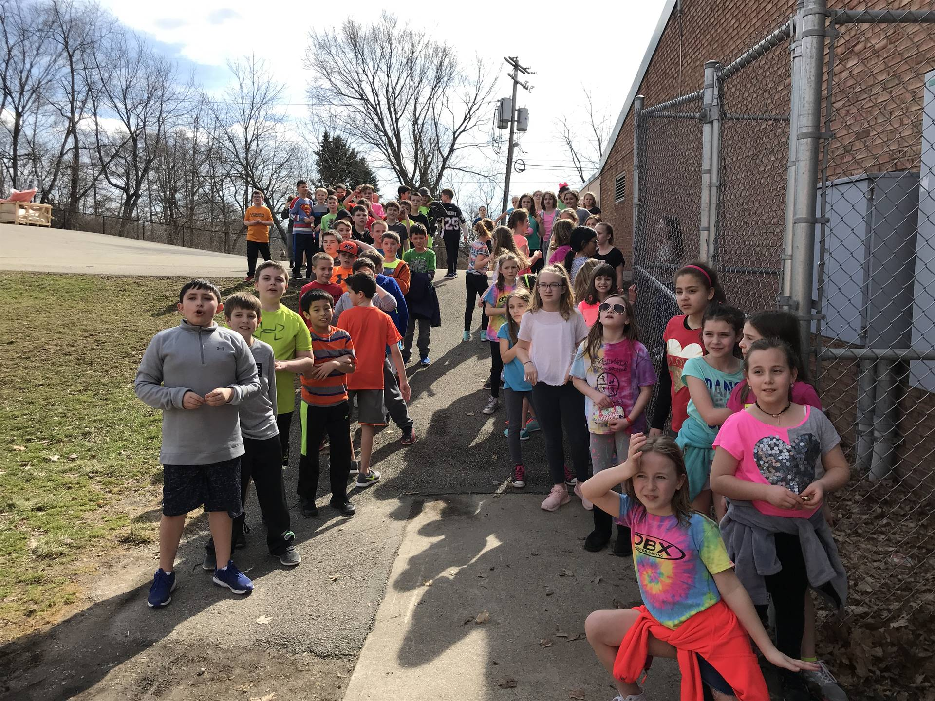 Fourth Graders outside on Hoodie Hoo Day