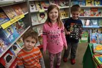 Three students at the book fair