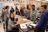 Students working together in the Art Room on the IMS Art Club mural