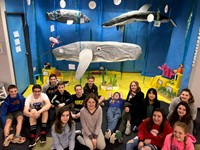 Students with the ocean biome