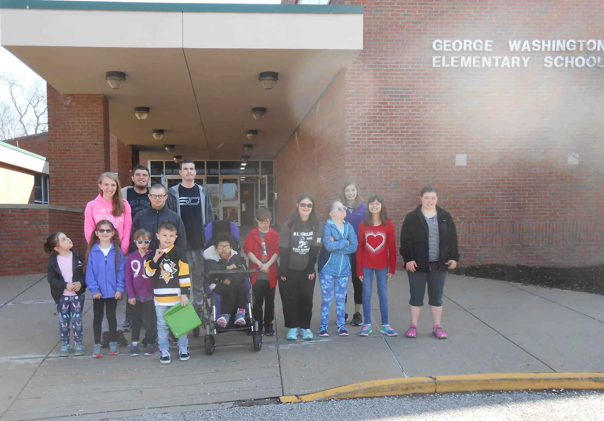 The students in the Washington Warriors Walking Club
