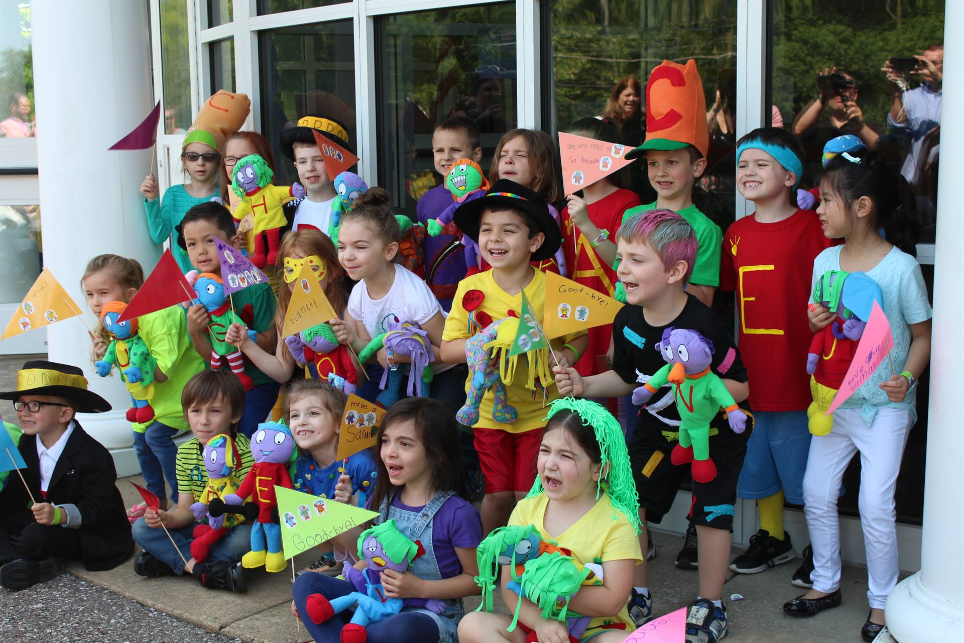 Kindergarten students dressed as the Letter People
