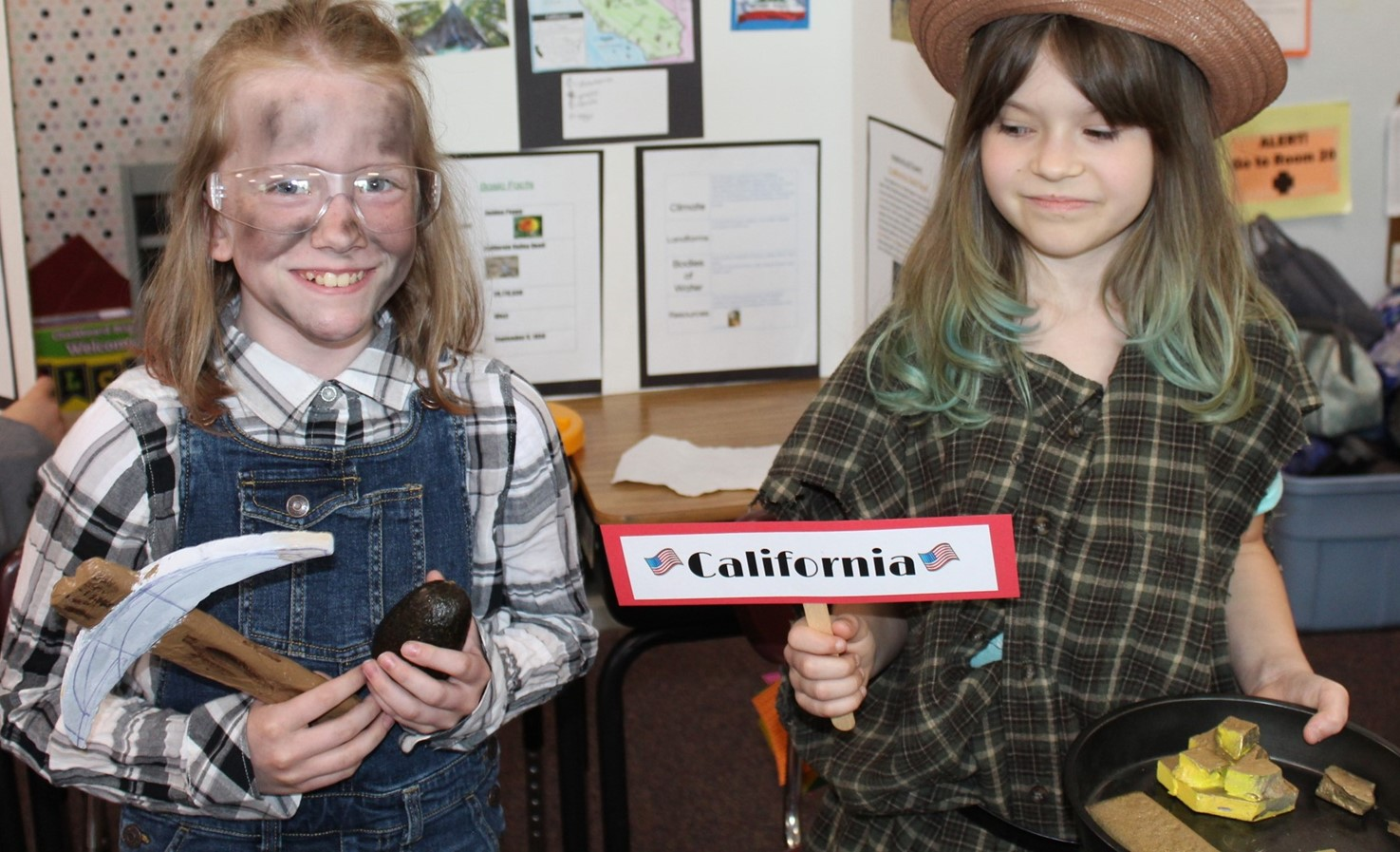 two students dressed as California gold miners