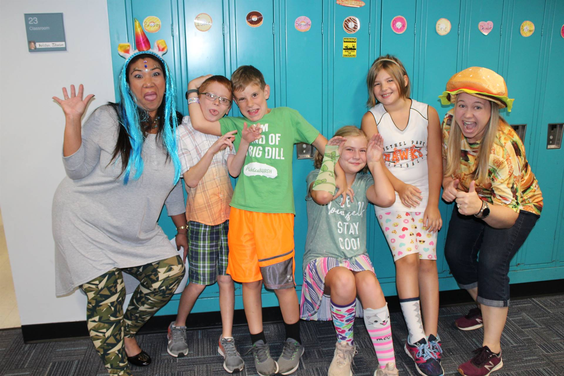 Mrs. Doumont, Mrs. Meucci and four students on Wacky Wednesday