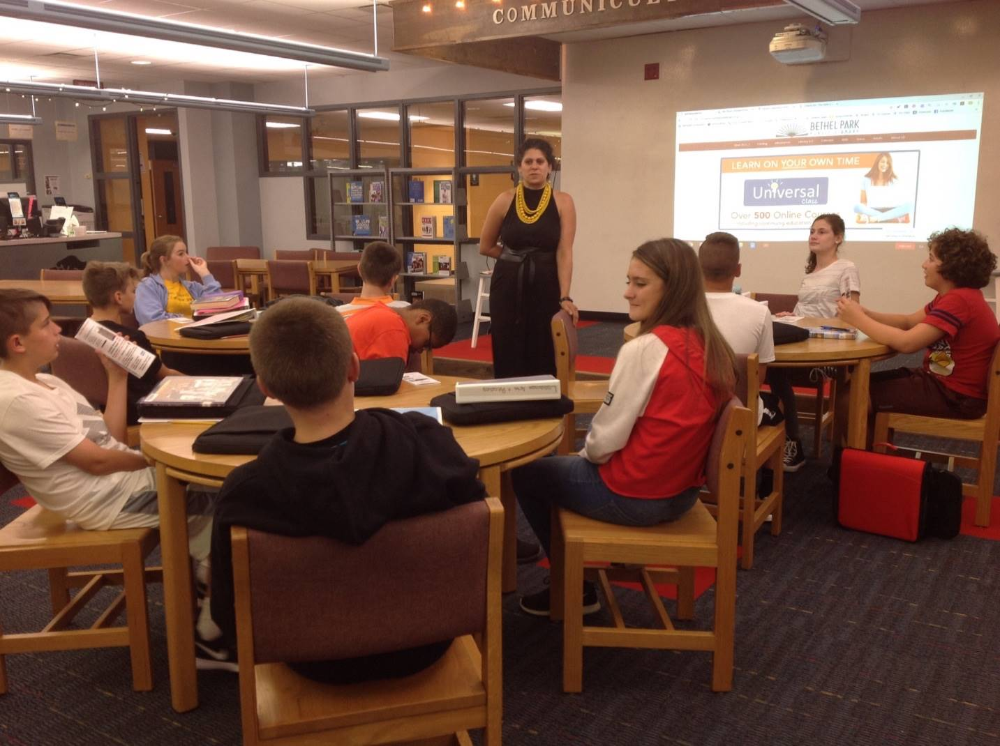 Miss Elaine from the Public Library tells 7th graders what BPPL has to offer