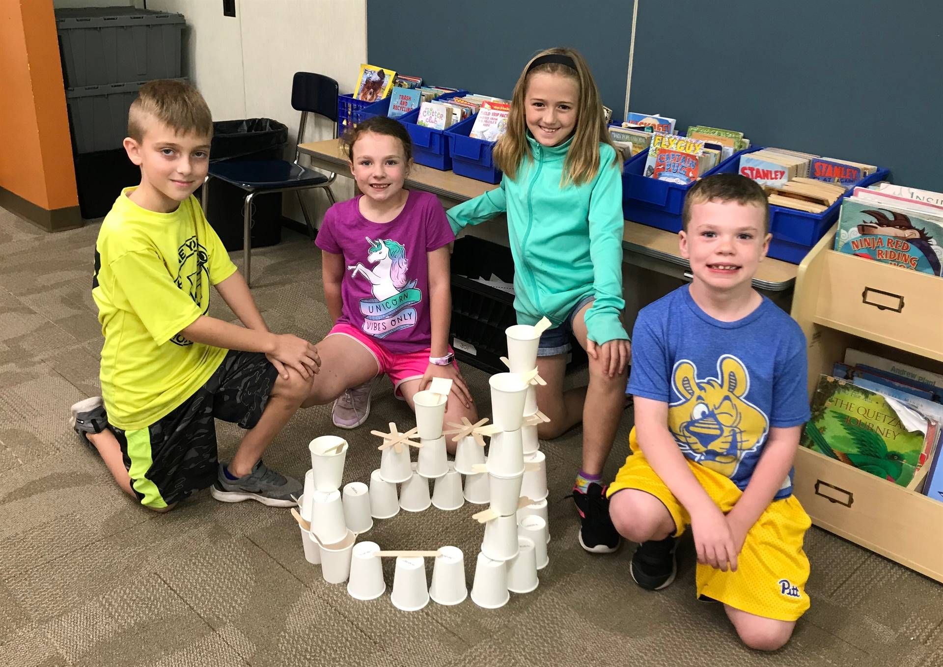 Four Second Graders With Their STEAM Challenge Tower
