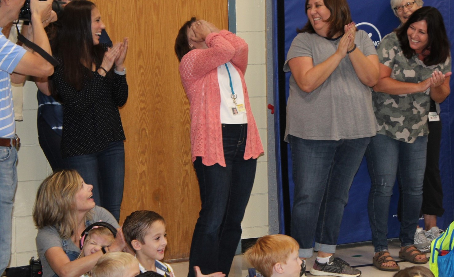 Teacher's surprised response to her being awarded State-Wide Recognition