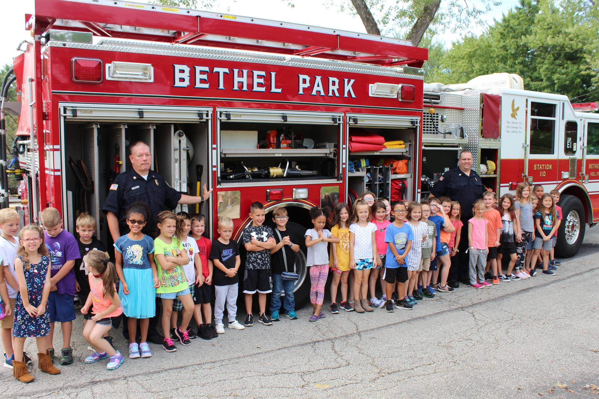 First Graders in front of a BP fire truck