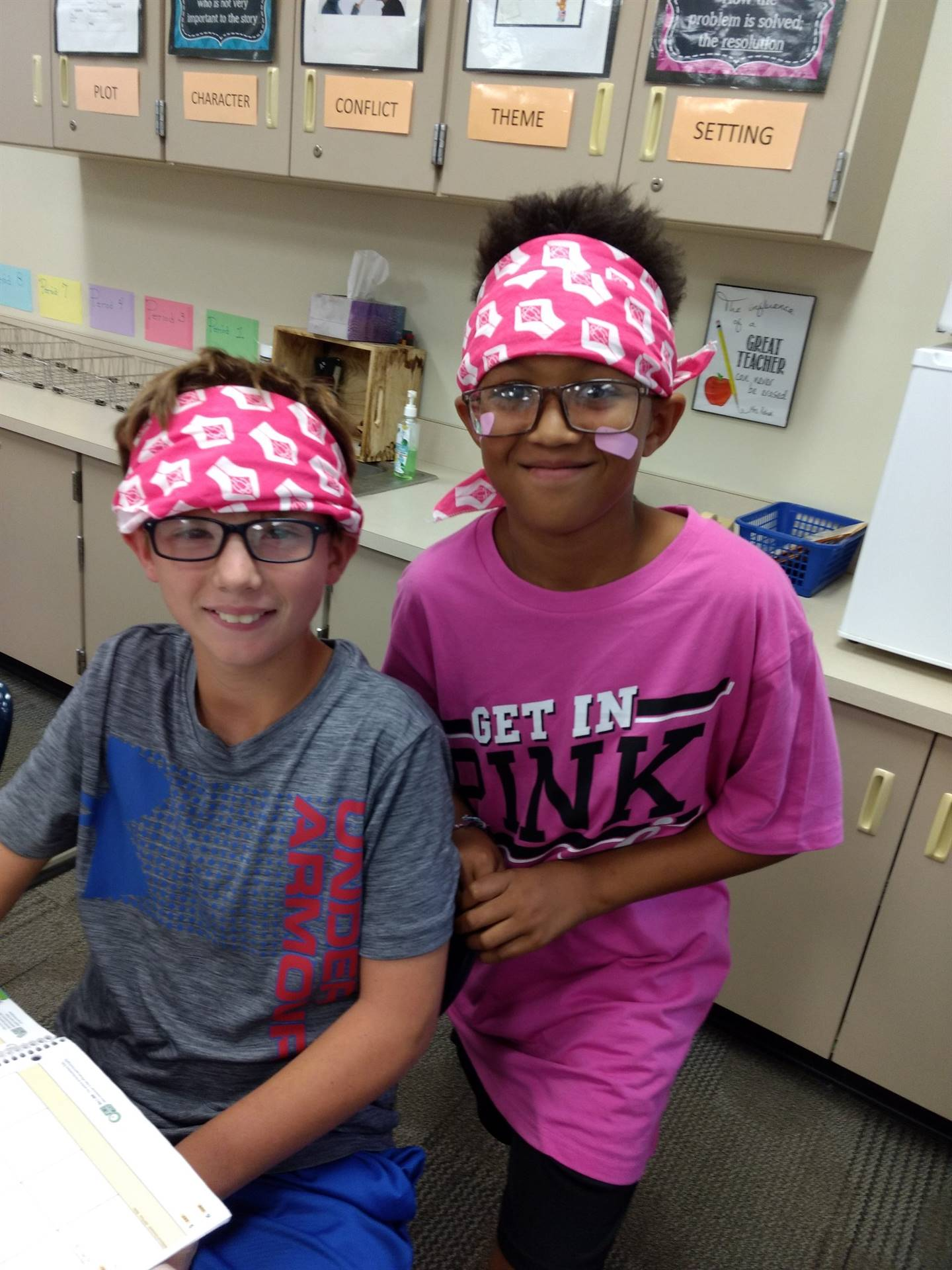 Two students with their bandannas