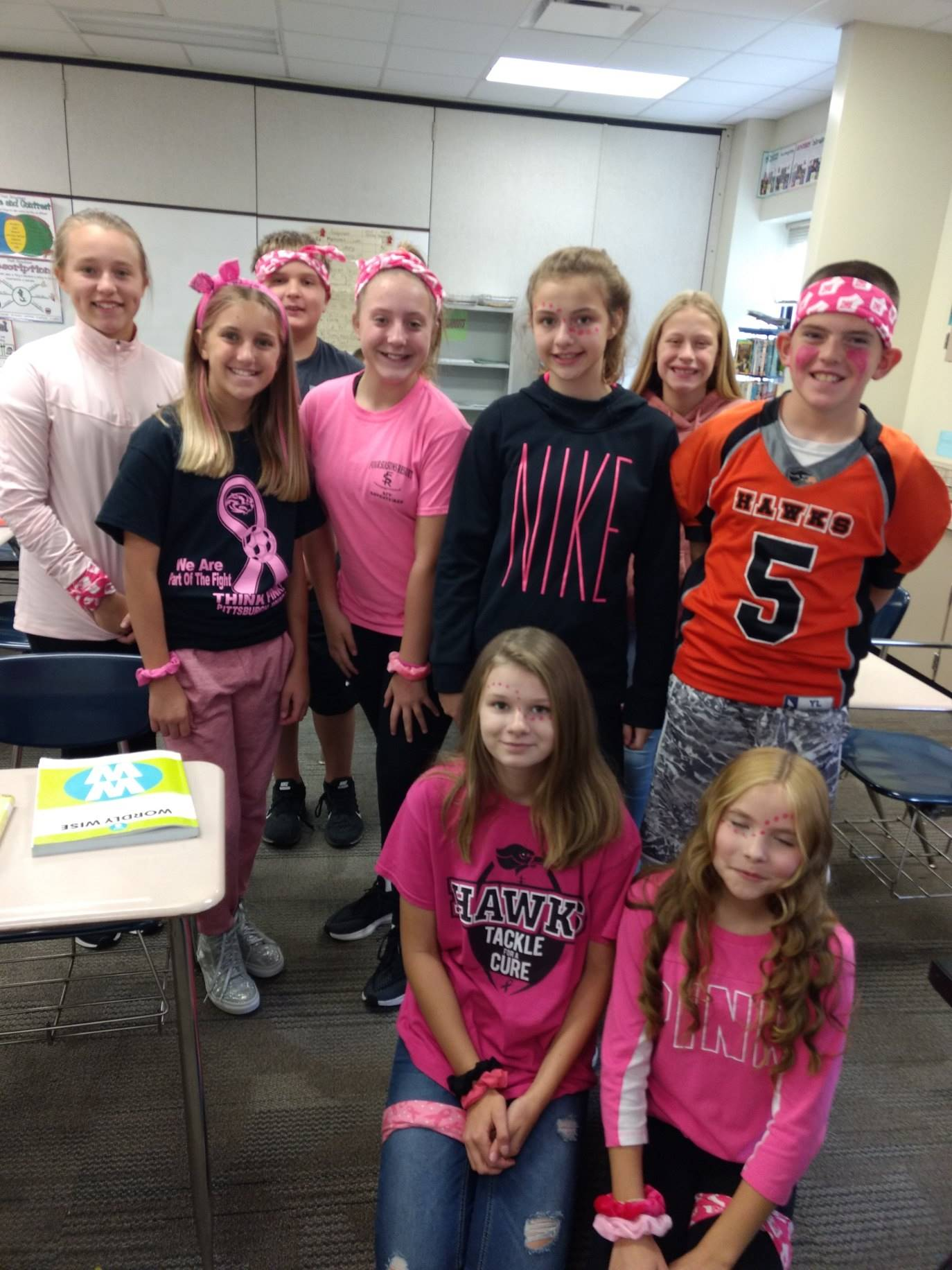 Group of students showing their support for the Pink Out