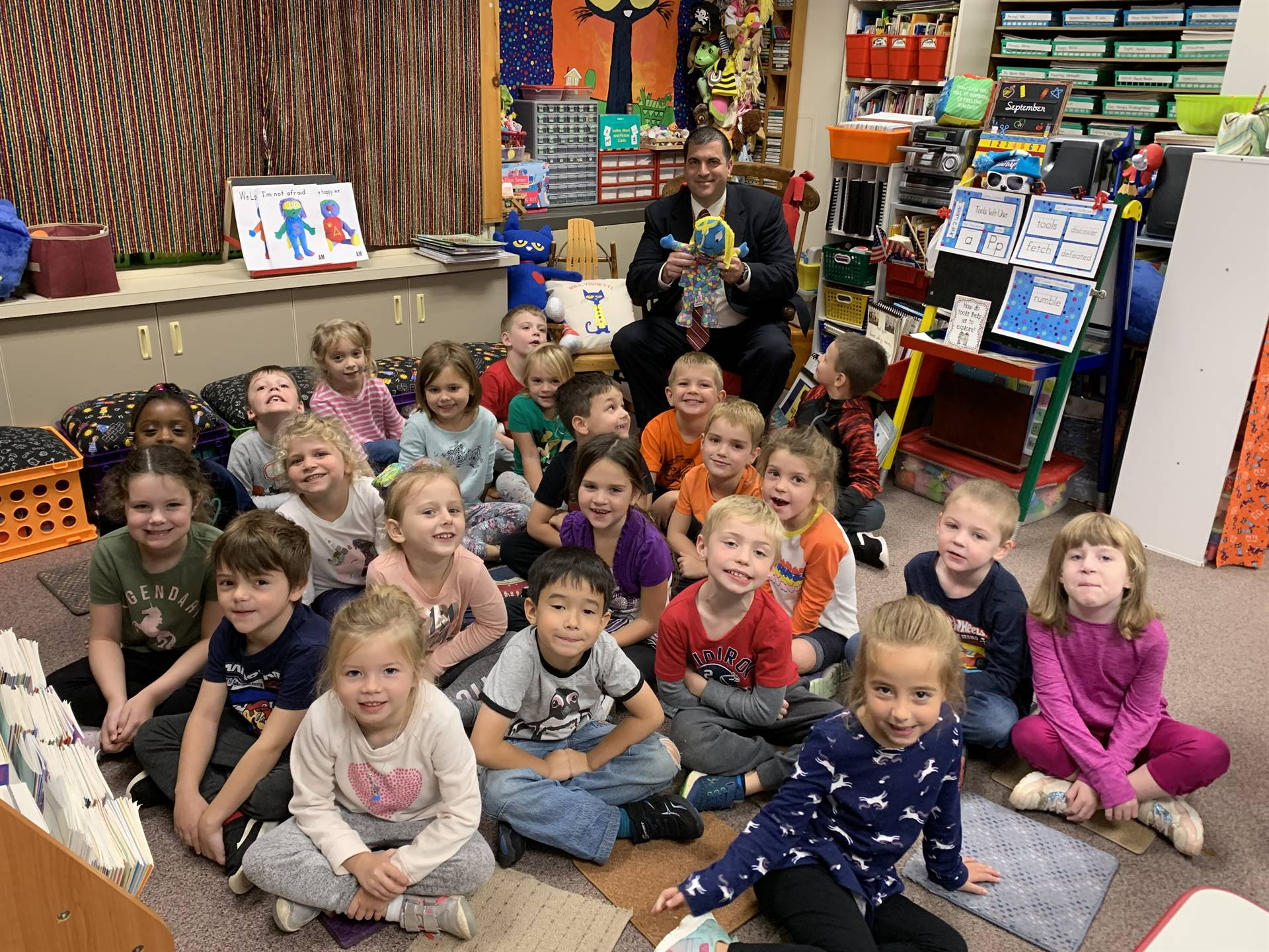 Dr. Pasquerilla, Ms. P and Franklin Kindergarten students
