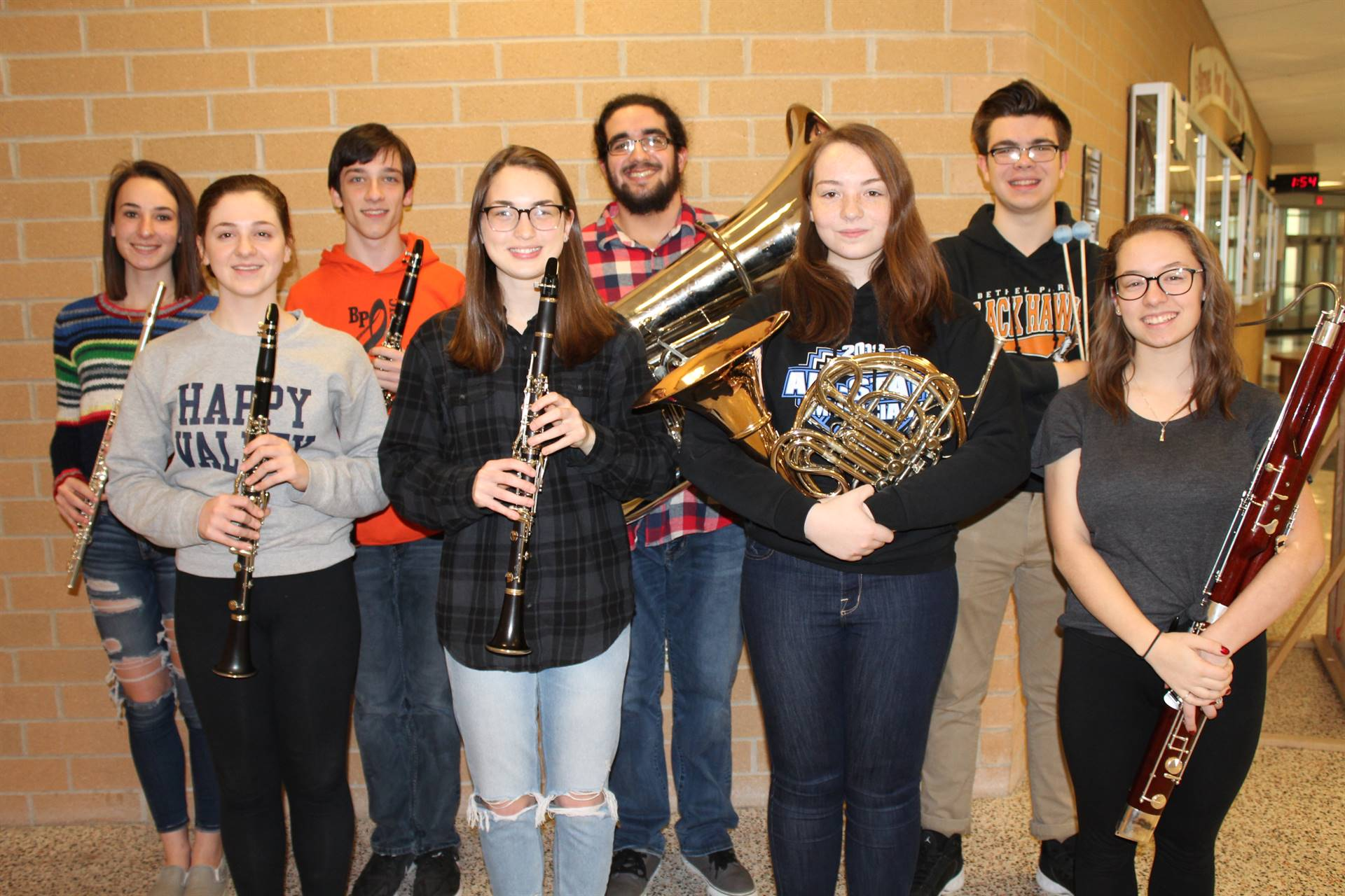 The eight BPHS District Band Musicians
